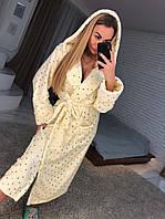 Длинный махровый халат на запах с капюшоном, фото 1