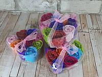 Подарочный набор мыло Розы 6 бутонов разноцветные
