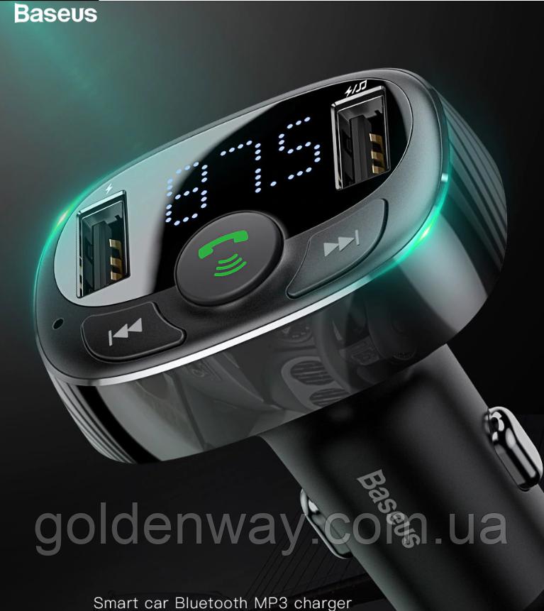 Автомобильный Адаптер FM трансмиттер модулятор BASEUS T typed with Bluetooth FM + зарядка 2.4A/1A + вольтметр