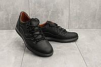 Мужские Повседневная обувь кожаные весна/осень черные-матовые Yuves 650