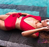 Женский шикарный красный раздельный купальник,с высокой посадкой