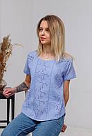 Стильна літня жіноча ажурна батистова блуза барвінкового кольору №2028-2
