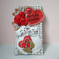 Открытка ручной работы на День святого Валентина с котиками, подарок для девушки