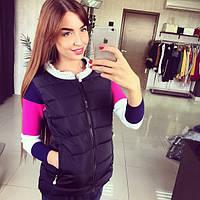Женская стильная стеганая жилетка с жемчугом, фото 1