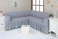 Натяжной чехол-накидка на угловой диван с рюшами Venera 02-216 с оборкой Серый