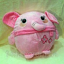 Плед мягкая игрушка 3 в 1  Слоник розовый  (05)