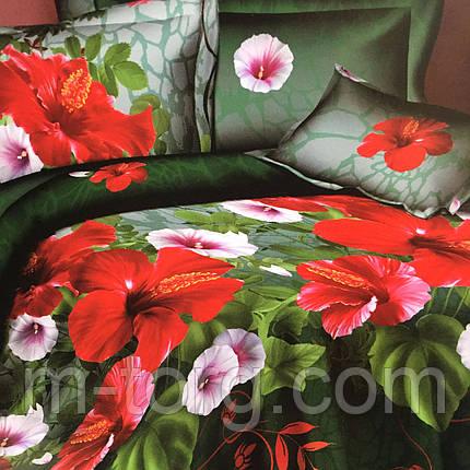 """""""Красные цветы"""" Постельное белье 3D эффект 180/220, нав-ки 70/70, фото 2"""
