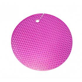 Подставка под горячее силиконовая круглая d-17.5 см Genes фиолетовая