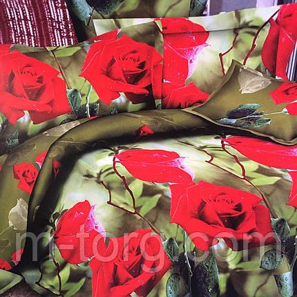 """""""Розы"""" Постельное белье 3D эффект 180/220, нав-ки 70/70, фото 2"""