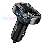 Автомобильный Адаптер FM трансмиттер модулятор BASEUS T typed with Bluetooth FM + зарядка 2.4A/1A + вольтметр, фото 7