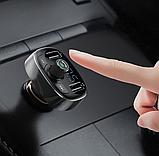 Автомобильный Адаптер FM трансмиттер модулятор BASEUS T typed with Bluetooth FM + зарядка 2.4A/1A + вольтметр, фото 8