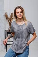 Стильна літня жіноча сіра гаптована штапельна блуза №2029-2
