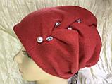 Зимова кашемірова чорна шапка з об'ємним плетінням, фото 3