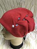 Зимова кашемірова чорна шапка з об'ємним плетінням, фото 5