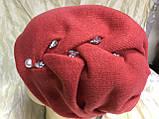 Зимова кашемірова чорна шапка з об'ємним плетінням, фото 4