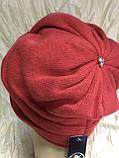 Зимова кашемірова чорна шапка з об'ємним плетінням, фото 6