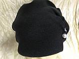 Зимова кашемірова чорна шапка з об'ємним плетінням, фото 2