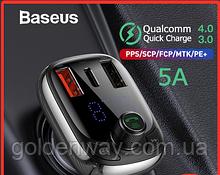 Автомобильная зарядка, модулятор BASEUS T typed with Bluetooth FM S-13 + 2USB/1Type-C, QC4.0/PD, 5A/1.5A/3A