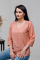 Стильна літня жіноча ажурна батистова блуза абрикосового кольору №2034-1