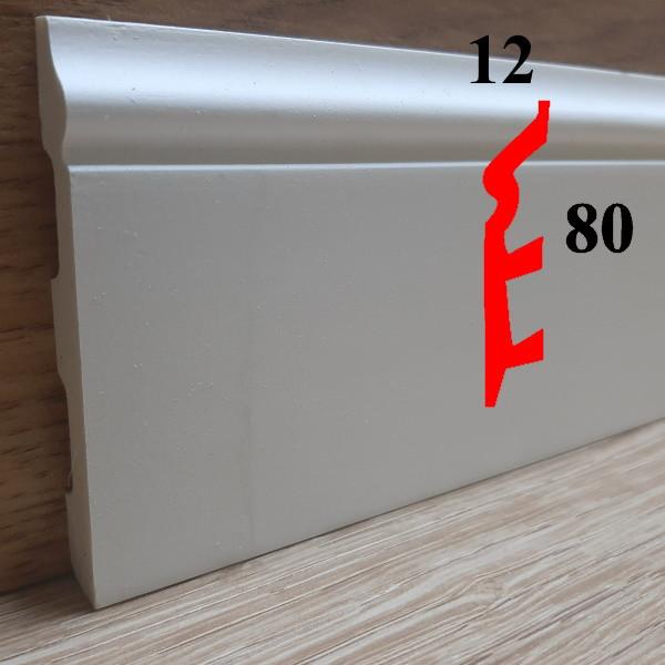 Гибкий фигурный дизайнерский полиуретановый плинтус под покраску 12х80, длина 2,44
