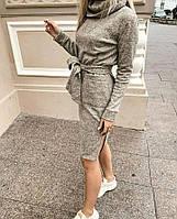 Женское платье из ангоры софт тёплое с воротником-хомутом