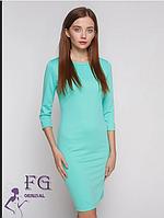 Стильное демисезонное платье по фигуре до колен мятный