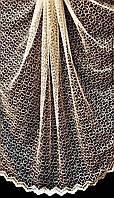 Тюль фатин золотая паутинка, вышивка кордовой нитью