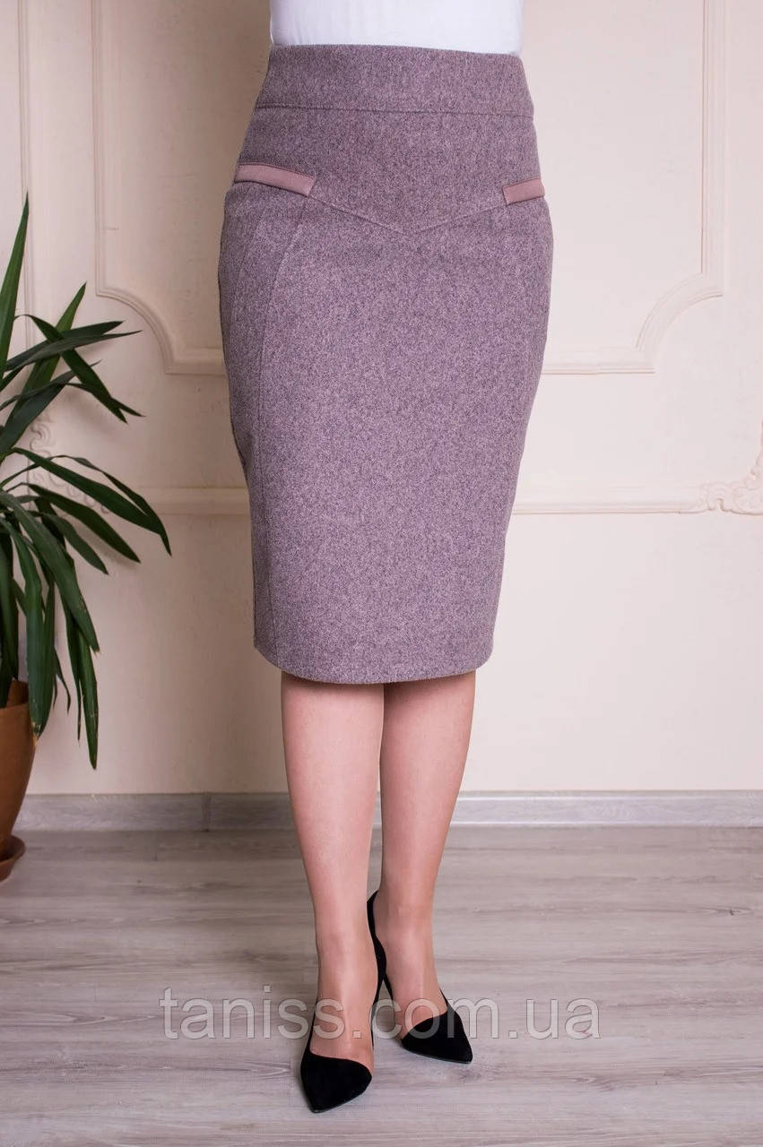 Женская деловая юбка Барбара, теплый зимний трикотаж, пояс резинка, р.с 48 по 62 беж