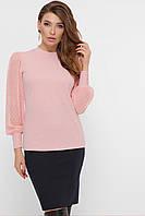 Персиковая блуза с люрексом и шифоновыми рукавами