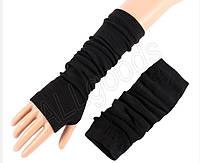 Митенки. Длинные перчатки без пальцев Черные