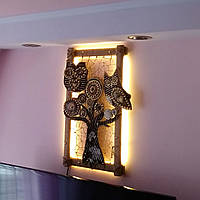 Декоративное панно картина светильник на стену совы, ночник картина совы