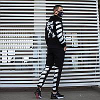 Утепленный спортивный костюм мужской черный с былым,  модель Off White