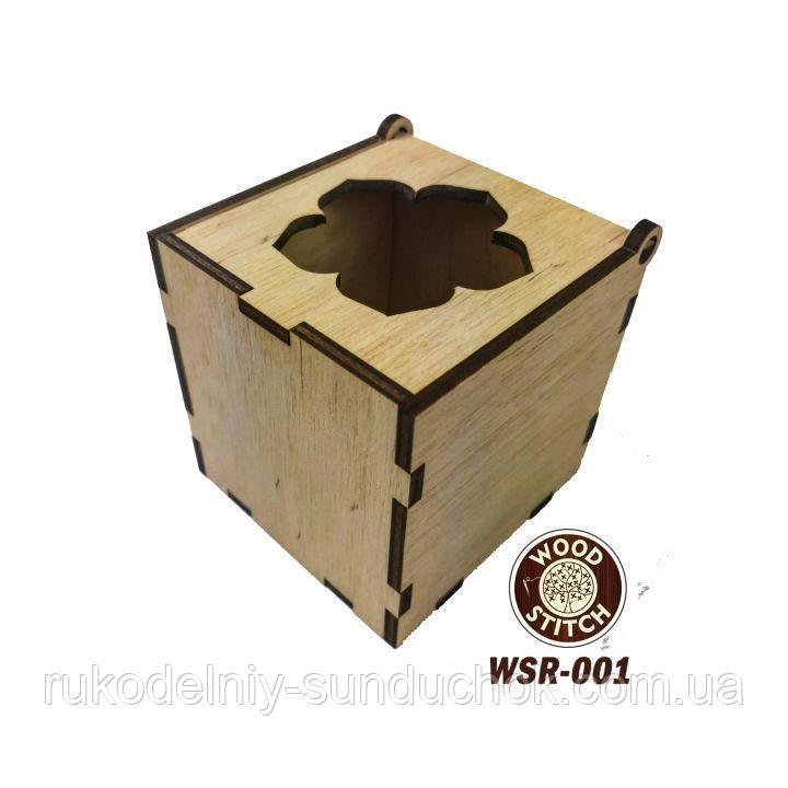 Деревянная мусорничка для обрезков нитей Цветок WSR-001