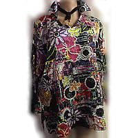 Блуза туника женская Michele Hope из тонкого атласного шелка, вышитого пайетками, большой размер 22/24, фото 1
