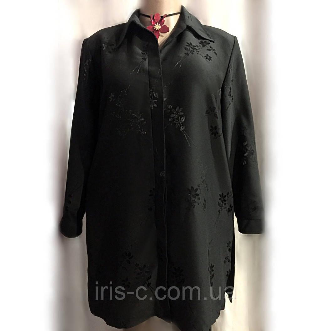 Блуза кардиган женская Bonmarche, черная, из плотного шелка с вышивкой большой размер 22(54)