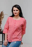 Стильна літня жіноча ажурна рожева батистова блуза №2036