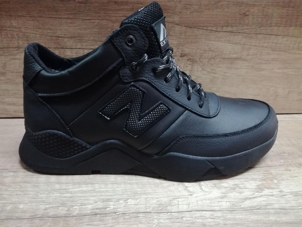 Мужские зимние кроссовки Extrem из натуральной кожи черные
