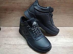 Мужские зимние кроссовки Extrem из натуральной кожи черные, фото 3