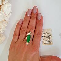 Срібний перстень каблучка із золотими вставками та яскравим великим зеленим каменем