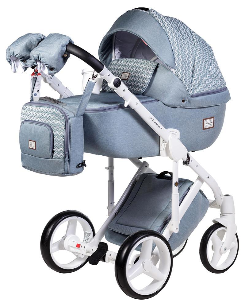 Универсальная детская коляска 2 в 1 Adamex Luciano jeans Q204
