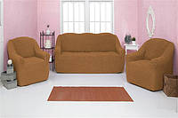 Чехлы на диван и два кресла натяжные без оборки (универсальные) Venera 07-219 Горчица