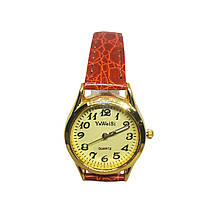 Часы кварцевые Yiweisi Gold женские желтые на рыжем ремешке