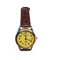 Часы кварцевые Yiweisi Gold женские желтые на коричневом ремешке