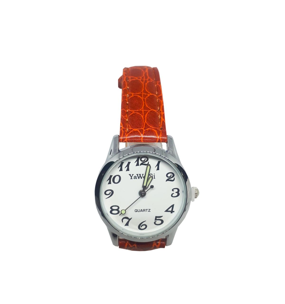 Часы кварцевые Yiweisi Silver женские белые на рыжем ремешке