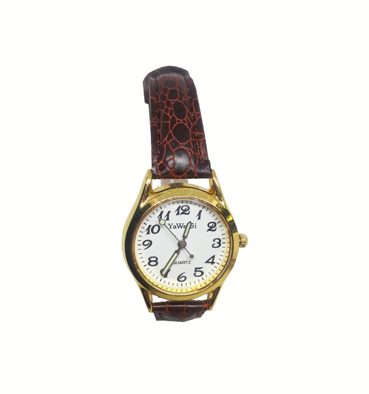 Часы кварцевые Yiweisi Gold женские белые на коричневом ремешке