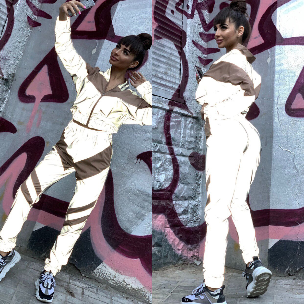 Женский спортивный костюм из плащевки со светоотражающими вставками 7105680