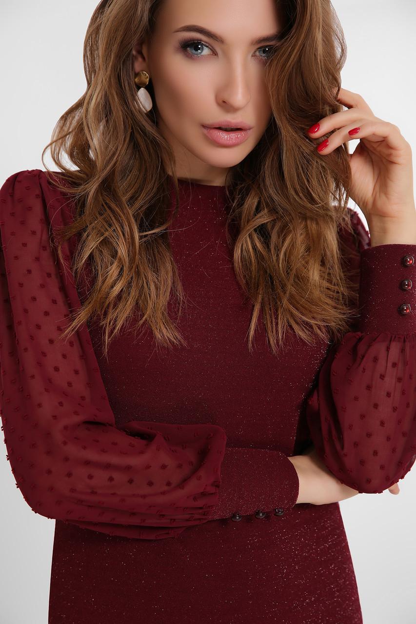 Нарядная бордовая прямая блуза с люрексом