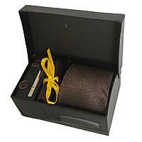 Набір подарунковий: краватку, запонки, хустку, затискач, коробка коричневий GS886-1, фото 1