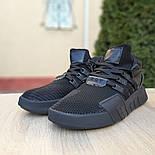 Мужские кроссовки Adidas Originals EQT Bask ADV черные на черной 41-45р. Живое фото. Реплика, фото 3