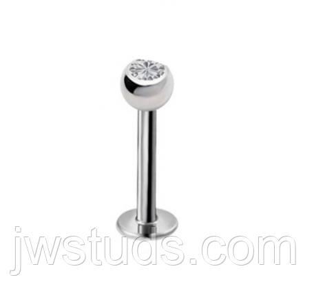 Лабрет 10 мм хирургическая сталь камень Кристалл